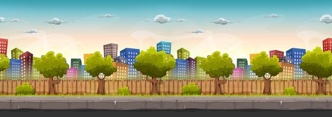 Seamless Street City Landscape For Game Ui