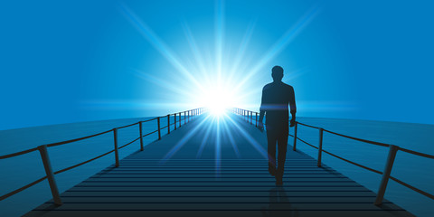 homme - marchant - seul - ponton - méditation - objectif - horizon