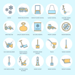 Snow removal colored flat line icons. Ice relocation service signs. Cold weather equipment - snow thrower, blower, truck, front loader, snow shovel. Vector illustration, industrial cleaning symbols.