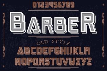vintage font alphabet handcrafted vector named Barber