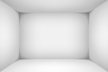 The inner space of the box. Empty white room. Vector design illustration. Mock up for you business project