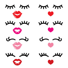 Eyelashes and lips vector icons, pretty girl's face, closed eyes and heart lips - beauty concept