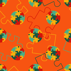 Polka dot seamless pattern. Puzzle texture. Textile rapport.