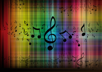 Musical Notes with colored background