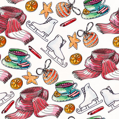 Grainy raster illustration with christmas seamless pattern drawn with watercolor and brush on white textured paper. Skates, christmas balls, warm scarf, cup with cinnamon and citrus.
