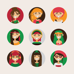 Vector user avatars of cute rastafarian girls with various hairstyle, color and different accessories and clothes style. Bright set with smiling female characters