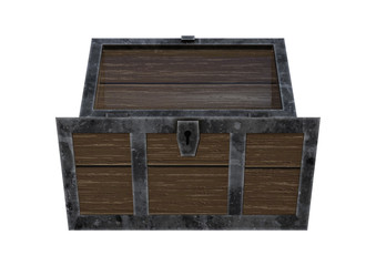3D Rendering Treasure Chest on White