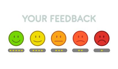 Set smiley feedback - isolated vector illustration