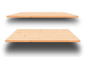 Wooden shelves isolated on white background,Clipping Path.