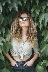 beautiful caucasian woman posing in nature