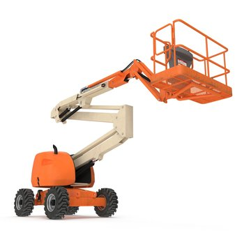 Engine Powered Scissor Lift on white. 3D illustration