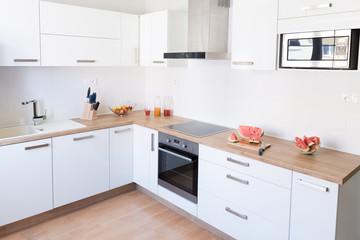 New modern white kitchen interior background