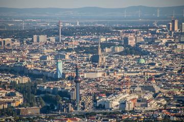 Panoramblick von Leopoldsberg über Wien, Österreich