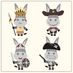 Set isolated donkey in cartoon style for design children holiday and birthday. Funny donkey in costume of viking, american indian, cowboy and pirate.