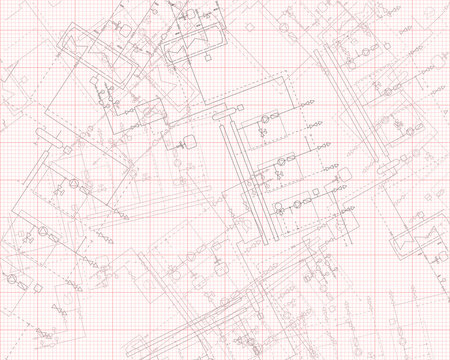 Gas boiler for heating. Heat steamshop. Technical project on graph paper.