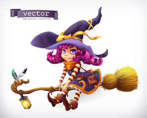 Witch. Happy Halloween, 3d vector icon