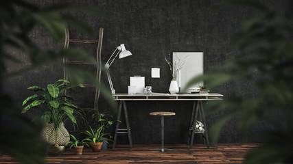 Gemütlicher Schreibtisch in Büro zuhause. Home Office