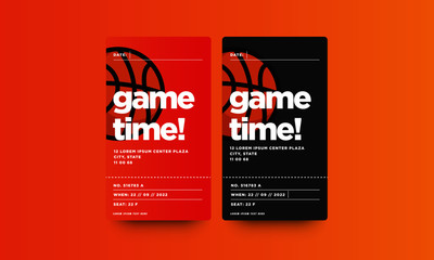 Game Time Basketball Event Ticket Card Design With Seat and Venue Details