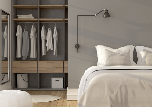 Bedroom interior with wardrobe