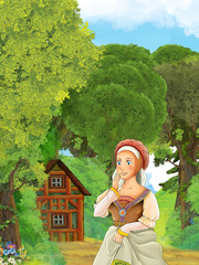 Cartoon nature scene with old house in the forest and pretty girl in the first stage -  illustration for the children