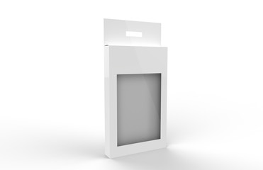 White Product Package Box With Window, Mock Up Template On Isolated White Background, Ready For Your Design. Product Packing Template, 3D Illustration