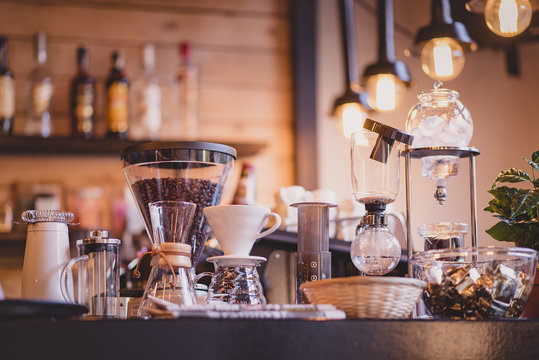 Specialty coffee tools in a coffee bar