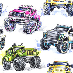 Watercolor seamless pattern Cartoon Monster Trucks. Colorful Extreme Sports background. 4x4. Vehicle SUV Off Road. Lifestyle. Man's hobby. Transport.