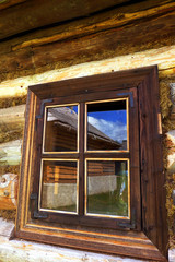 Window on wooden house