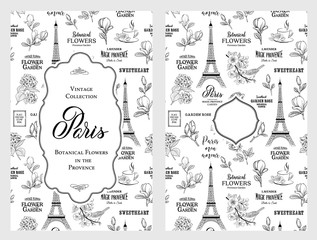 Souvenir card with eiffel tower. Eiffel tower with blooming spring flowers over white background. Vector illustration.