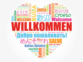 Willkommen (Welcome in German) love heart word cloud in different languages, conceptual background