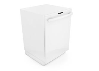 Freestanding dishwasher on white background 3d render