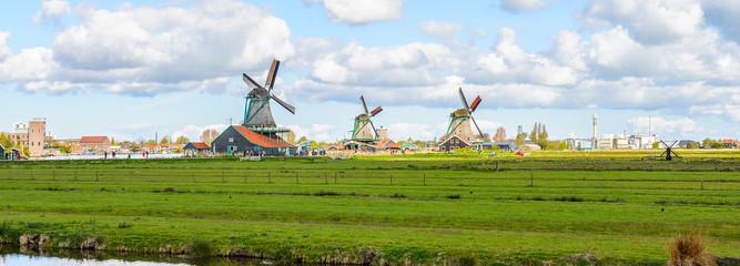 Windmills of Zaanse Schans, quiet village in Netherlands
