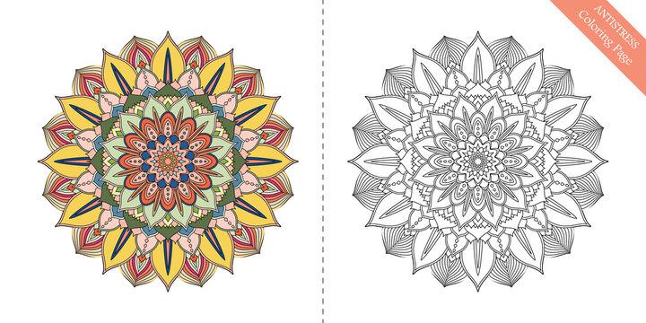Antistress Coloring Page Mandala Sixth
