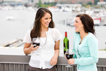 Wine: Girls Share A Glass Of Wine And Chat