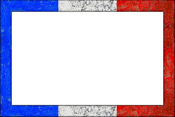 empty picture or blackboard wooden frame in french france flag design isolated on white background / Bilderrahmen Rahmen frankreich flagge holz
