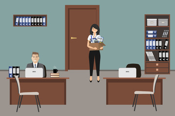 Office room in a blue color. Man is sitting at a table, a yong woman is standing with a box of stationery near the door. There is brown furniture and white chairs in the picture. Vector illustration.