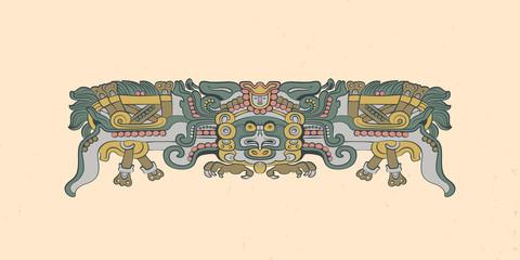 Totemic owl in flight Mayan graphic illustration