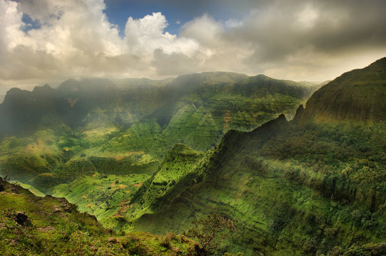 Magnificent mountain landscape. Simien mountains National Park. Ethiopia.