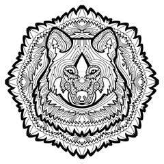 Animal concept. Line design. The head of a wolf. Monochrome ink drawing with tribal patterns. Zenart. Coloring book for adults. T-shirt, bag design