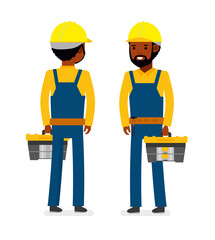 Construction worker with tool bag. Isolated against white background. Vector illustration. African American people. Cartoon flat style.