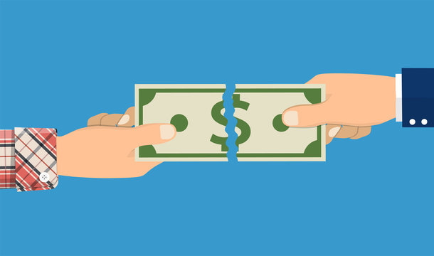 businessman hands tearing money banknote