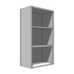3D image - simple isolated cabinet with shelves