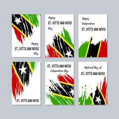 St. Kitts and Nevis Patriotic Cards for National Day. Expressive Brush Stroke in National Flag Colors on white card background. St. Kitts and Nevis Patriotic Vector Greeting Card.