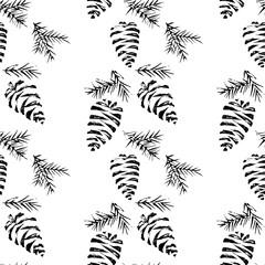 Pine cones seamless pattern