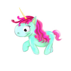 illustrated blue unicorn with pink hair