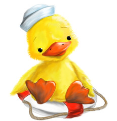 illustrated cute duck with marine cap on Rescue wheel