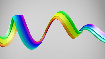 Rainbow spectrum gradient spiral 3D shape