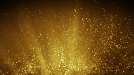 Fairy dust flying in gold light rays abstract illustration