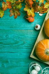 Blue surface with halloween pumpkin