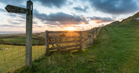 Sunset on Limerstone Down, Isle of Wight, England